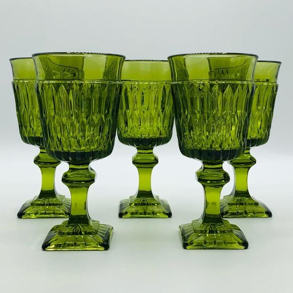 Green Depression Glass Goblets, Set of 5